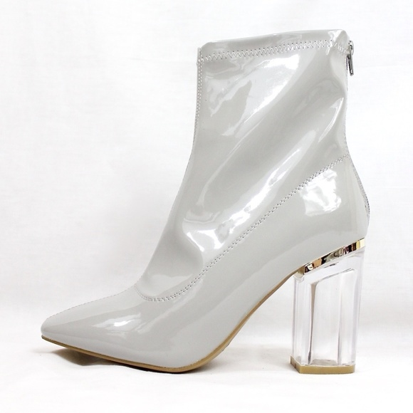 ad755287e3 Yoki Shoes | Patent Block Clear Lucite Perspex Heel Bootie | Poshmark